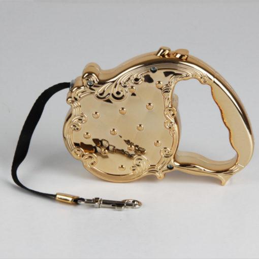 guia retratil cachorro luxo dourada
