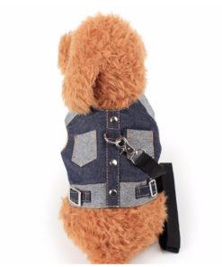 guia com coleira de peito jeans para cachorro