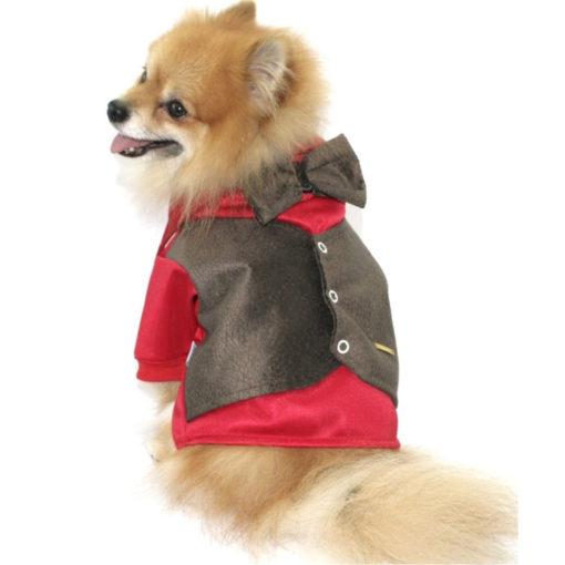 roupa de cachorro vermelha com colete marrom e gravata