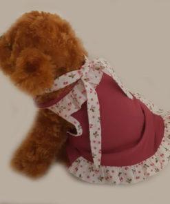 vestido com laço florido para cachorro