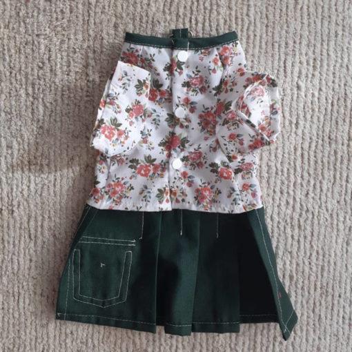 vestido com saia verde para cachorro