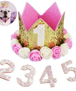 coroa rosa de aniverário para cachorro