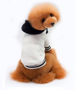 moletom branco e preto com capuz para cachorro