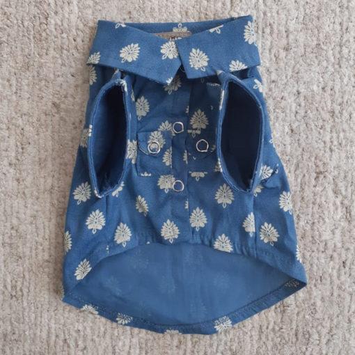 camisa para cachorro folhas azul