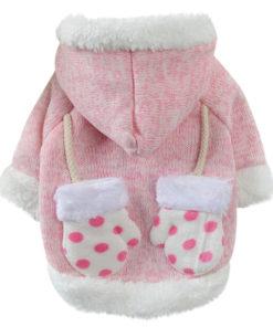 casaco para cachorra luvinhas rosa
