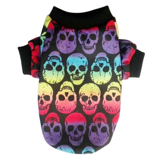 camiseta de caveirinhas colorida para cachorro