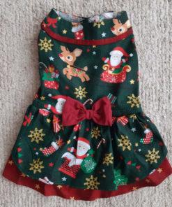 Vestido de Natal para Cachorro Verde e Vermelho