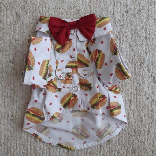 camisa hambúguer para cachorro