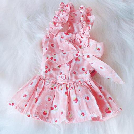 vestido para cachorro de alça rosa