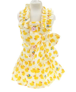 vestido para cachorro de alça amarelo