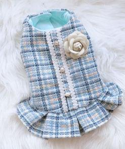 vestido para cachorro em tweed azul