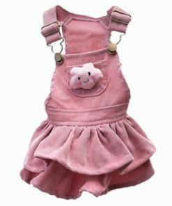 jardineira veludo rosa para cachorro