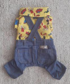 macacão popeye jeans para cachorro