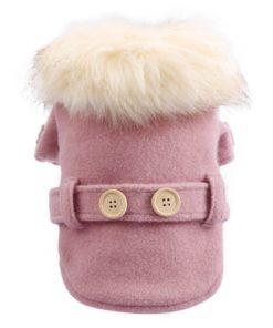 sobretudo rosa com pêlos para cachorro
