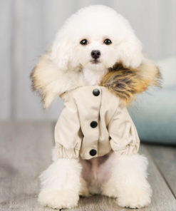 jaqueta de inverno com pêlos para cachorro