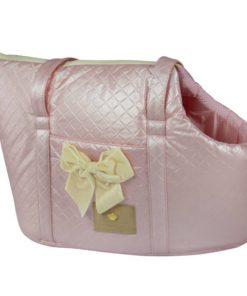 bolsa de passeio rosa para cachorro