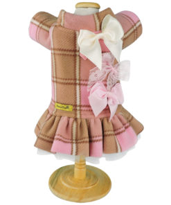 Vestido invernal rosa para cachorro