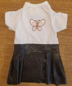 vestido borboleta com saia de couro