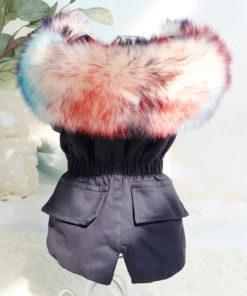 jaqueta inverno azul marinho pêlos para cachorro