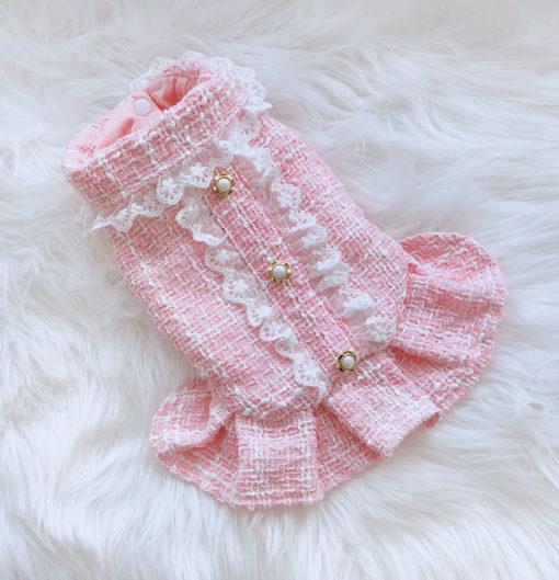 vestido tweed rosa para cachorro