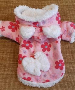 casaco florido de inverno para cachorro