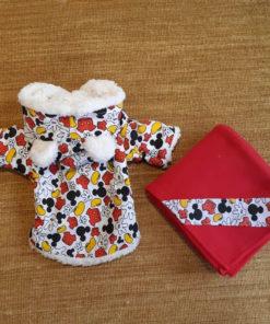 casaco mickey vermelho para cachorro com cobertor
