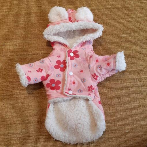 casaco rosa de inverno florido para cachorro