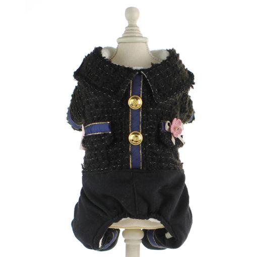 macacão de tweed preto de inverno para cachorro