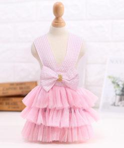 vestido rosa de tule para cachorro