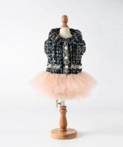 vestido tweed com saia tule para cachorro