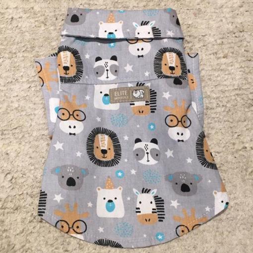 camisa cinza de animais para cachorro